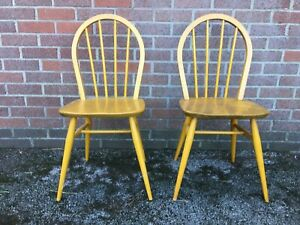 Vintage Ercol Beech & Elm Hoopback Kitchen Dining Chairs x 2 Over Varnished