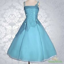Teal Blue  Wedding Flower Girl flowergirl Party Dress Size 9 FG188