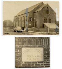 1941 CHURCH OF GOD SIGN/EXTERIOR, MAN + OLD AUTOMOBILE SET OF 2 PHOTOS