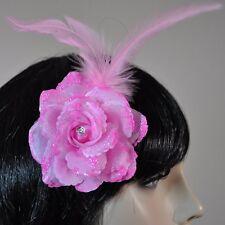 flores Claro Rosa Enganche pelo pinza para el cabello brillo Plumas Adorno