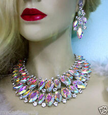 AB Statement Necklace Earring Set Rhinestone Crystal Pageant Drag Queen Prom