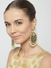 Indian Ethnic Green Earrings Fashion Round Shape Gold Plated White Weddings Set