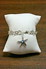 Tiffany & Co 926 Sterling Silver Turquoise Starfish Rolo Link Bracelet