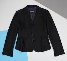 Womens EMPORIO ARMANI Blazer Single Breasted Stripe Wool Black (size US12)