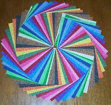"""68 Tilt A Whirl Curly Q Fabric 5"""" Quilt Squares Bundle 100% Cotton Charm pack"""