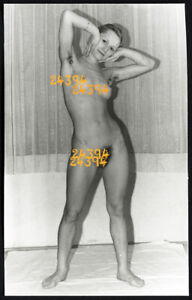short haired nude girl and her shadow, Vintage fine art Photograph, 1960'
