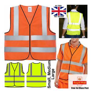 Hi Viz Vis Vest Visibility Yellow Orange Waistcoat Jacket Reflective Safety PPE