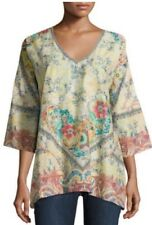 """NWT $212  """"JOHNNY WAS"""" """"DUNES"""" COTTON FLORAL MULTI-PRINT TOP - SIZE XS"""