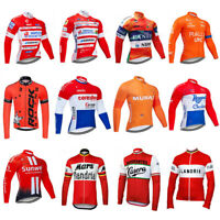 Mens Long Sleeve Cycling Jersey Breathable Jacket Bike Bicycle Wear Red