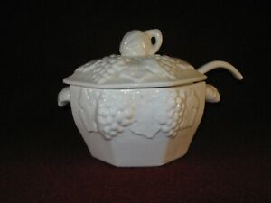 California Pottery Elegant White Large Soup Tureen with Lid and Serving Ladle