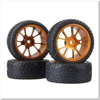 RC1:10 On-road Car Rubber Tyre& Gold Aluminum Alloy 10-Spoke Wheel Rim Pack of 4