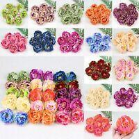 10/100Pc Artificial Silk 6cm Peony Flower Heads Bulk Craft Fake Floral DIY Decor