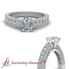 1.50 Carat Cushion Diamond Cathedral Style Three Sided Pave Set Engagement Ring
