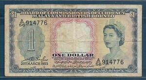 Malaya and British Borneo 1 Dollar, 1953, P 1, VF