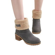 Fashion Women Snow Boots Warm Shoes Square Heels Ankle Boots Suede Winter Shoes