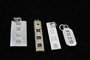 4 x Vintage .925 Sterling Silver INGOT PENDANTS (17g)