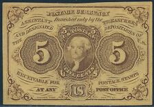 FR1230 5¢ 1ST ISSUE STRAIGHT EDGES W/ MONOGRAM FRACTIONAL CURRENCY AU BS4764