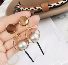 Fashion European Geometric Balance Ball Long Drop Dangle Pendant Earrings