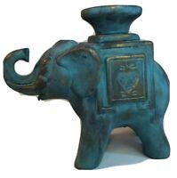 Terra Cotta Blue/Gold Glazed Pottery Elephant Candlestick Holder