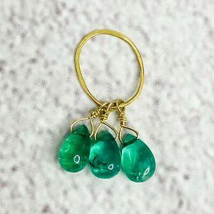 14K Gold Three Pear Emerald Pendant