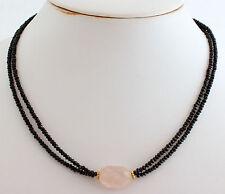 ESPINELA Con Quarzo rosa cadena de piedra preciosa Diseño Collar Negro Hermoso