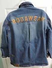 ROCAWEAR Denim Mens Long Zip Front Jacket XL Distressed stone washed Blue Jean