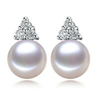 Solid 925 Sterling Silver Natural Freshwater 9-10 mm CZ AAA Pearl Stud Earrings