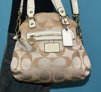 COACH DAISY Beige Gold Jacquard White Leather Crossbody Foldover Bag Purse 21713