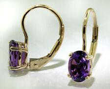 14k Yellow Gold Earrings 7x5 Oval Shape Amethyst Lever Back