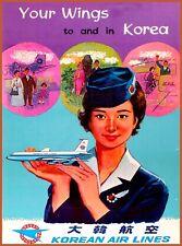 Your Wings Korea Korean Asia Airlines  Travel Advertisement Art Poster Print