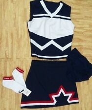 """Adult Patriotic Cheerleader Uniform Top Skirt Socks Brief 36-38/29-30"""" Cosplay"""