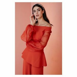 NWT Chiara Boni La Petite Robe Katell Top Blouse 6/42 Italy Copper/Orange $395