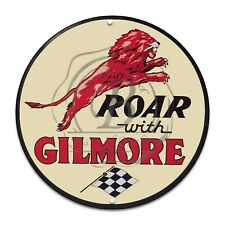 Reproduction Garage Sign Metal Decor Gas & Oil Sign Roar with Gilmore Lion