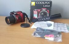 Boxed complete NIKON COOLPIX L810 Digital Bridge Camera 16.1MP 26x Zoom  Red