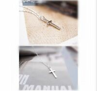 "925 Sterling Silver Plate Small Mini Plain Smooth Cross Pendant Necklace 18""Gift"
