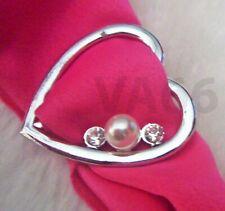 Heart Love Rhinestone White Pearl Scarf Ring Silver Buckle Cincin Tudung Hijab