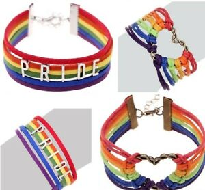 Price Bracelet Rainbow LGBT Flag Gay Love Charm Lesbian Braid Wrist Band