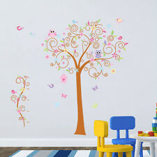 Tree, Owl, Birdcage Wall Stickers. Nursery, Bedroom, Pink, Girl, Child, Baby