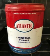 ATLANTIC Motor Oil Vintage Collectable 4 Imperial Gallons Tin Drum