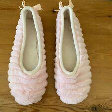 Faux Fur Women's Slipper Ballet Flat Size 7 37 Fluffy Pink Made in Spain VS