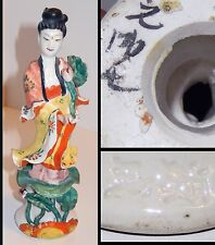 Famille Rose Porcelain Kwan Yin Figurine Chinese Mark Signed Removable Hand 7in
