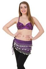 Hip Shakers Exotic Floral Embellished Sequin Belly Dance Bra Top