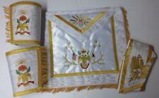 Masonic SCOTTISH RITE 33rd Degree A.A.S.R Apron Set Apron,Collar & gauntlets(DW)