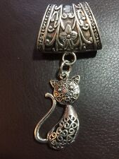 Antique Silver Finish Cat Filigree Scarf Ring HOMOLOGUE