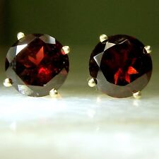 4.08 Carat Genuine Garnet Stud Earrings 14K Yellow Gold 8 mm Round Gemstone