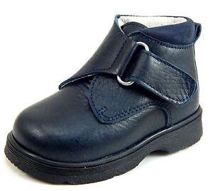 DE OSU-FARO - Boys' Navy Blue Leather Dress/Casual Boots - European - Size 3-9