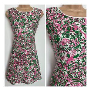 Vintage 60's Mod Green Pink & White Floral Print Cotton Mini Shift Dress 10