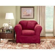 Sure Fit Suede Supreme Separate Seat Chair Slipcover -Burgundy