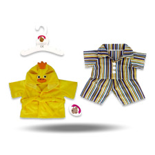 More details for teddy bear clothes fits build a bear stripe pj's pyjamas & duck dressing gown