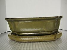"10"" Glazed Mustard Color Cut Corner Bonsai Pot w/ Detachable Saucer High fired"